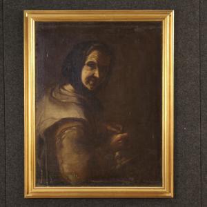 Antico dipinto italiano ritratto di contadina del XVIII secolo