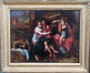 Lot e le figlie. Affascinante olio su tavola di scuola Fiamminga metà del XVII secolo.