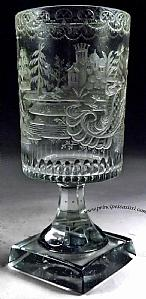 Rare cup ground to the wheel and recorded in the period of classicism.North Bohemia, Sudetenland, ca 1790-95