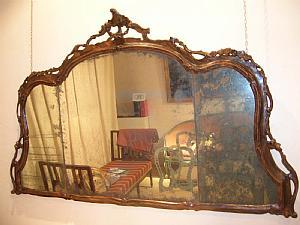 chimenea espejo, madera lacada falsa madera, Venecia