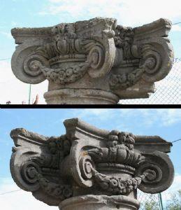 Paire de chapiteaux anciens en pierre. Epoca 1500.