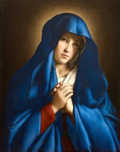 Джован Баттиста Сальви, известный как Сассоферрато (Sassoferrato, 1609 - Рим, 1685), Мадонна молится с голубой вуалью, холст, масло