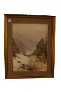 Acquerello inglese di inizio 1900 paesaggio con firma