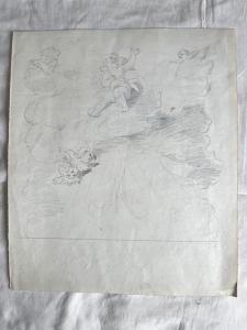 Dibujo-boceto a lápiz sobre papel de querubines Arturo Pietra, Bolonia.