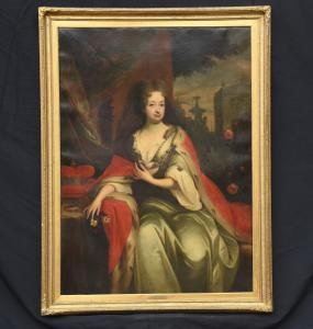 Antiguo retrato grande de la escuela de inglés del siglo XVIII.