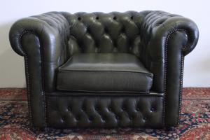 POLTRONA CHESTERFIELD CHESTER CLUB IN PELLE VERDE ORIGINALE INGLESE