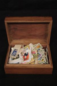 Box containing a collection of stamps