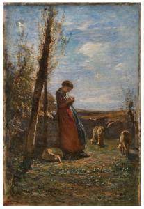 "A. Fontanesi""冬季太阳""(1875约),布面油画71x50 cm"