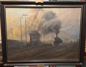 Pintura al óleo sobre lienzo de tren de vapor