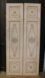 пц739 - н. 3 лакированные двустворчатые двери, 19 век, размеры в см l 100 xh 215 x th. 3