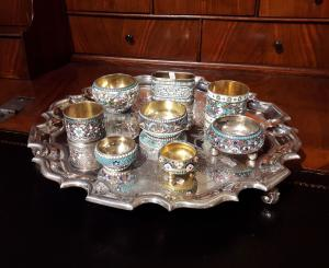 Precious collection of gilded silver enamels with cloisonné decorations, Russia, late 19th century - early 20th century