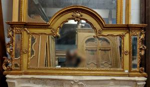specc339 - lacquered and gilded mirror, meas. cm l 185 xh 91