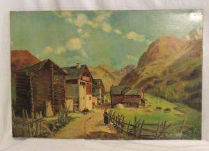 Dipinto su tela con paese montano, firmato F.Michel