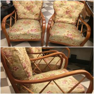 Paar florale Sessel aus Chintz-Stoff