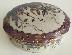 Cofanetto giapponese Satsuma in ceramica policroma - XX sec.