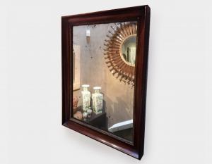 Specchio antico in palissandro e specchio al mercurio Art