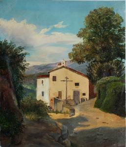 Paesaggio con strada e chiesetta.