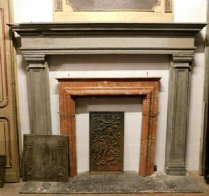 chp243 fireplace in serene sixteenth-century Tuscan stone; 230 cm xh 197