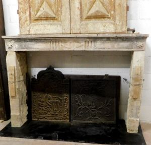 chp257 stone fireplace Louis XVI wide 148 cm xh 103 cm