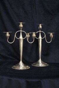 Pair of three-flame candlesticks