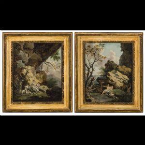 Dipinti del 700 Dipinti antichi Paesaggio con figure Antiquariato su ...