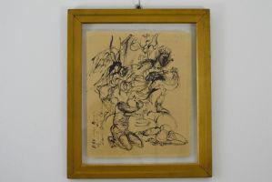 在Corrado Nino Corazza的纸上绘画