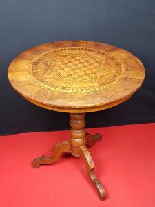 Rolo, XIX secolo, Tavolo Tavolino intarsiato, Varie essenze lignee