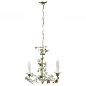 彩绘铁吊灯三盏灯 20 世纪初