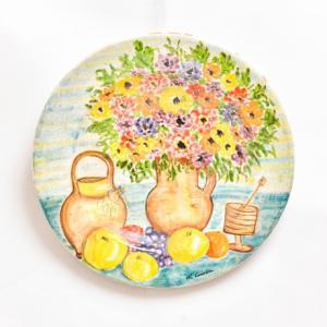 """""""有水果的花瓶""""-Michele Cascella的陶瓷板,Michele Cascella的陶瓷板"""