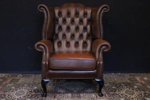 English Chesterfield Queen Anne armchair in light brown leather