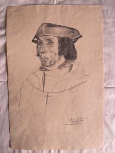 Pencil drawing on paper with the face of a young Renaissance man, Arturo Pietra, Bologna 1900.