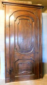 pti637 - porta in pioppo con telaio, XVIII secolo, misura cm l 135 x h 261