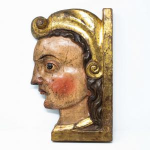 Profilo di guerriero in legno, XVI secolo
