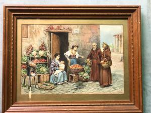 Témpera con figuras de frailes y vendedores de frutas.Alberto Collina.Roma