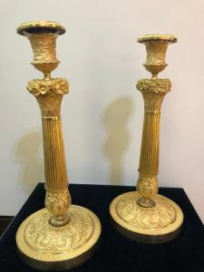 Pair of lies in gilded bronze Empire France 1810