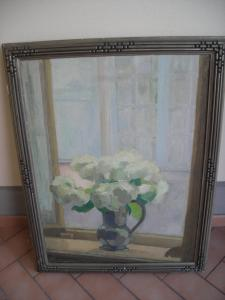 PAINTED OIL ON CANVAS RAFF FLOWERS ON THE FRONT SIGNED GEORGE GIRAUD