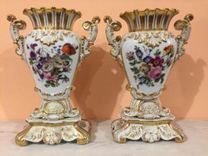 Pair of porcelain vases, Louis Philippe France vintage