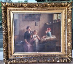 Картина маслом на холсте с ровесницей бельгийской школы от 1880/90 г.