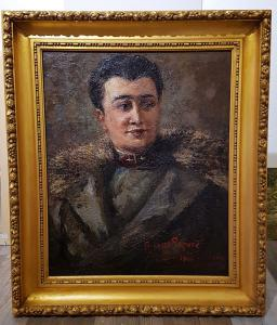 Oil Painting on Canvas, Male Portrait. signed Augusto Laforet