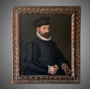 Dipinto antico ritratto uomo aristocratico, seguace di G.Moroni