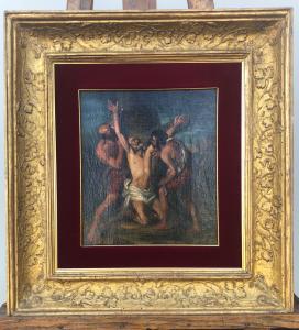 Dipinto olio su tela con raffigurazione di martirio.