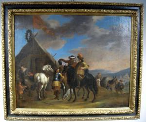 Dipinto olio su tela raffigurante scene di accampamento