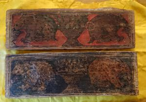 Par de tablillas de madera lombardas pintadas del siglo XVI.