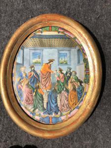 Cornice in legno intagliato e dorato con stampa Gesu'con Apostoli.