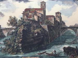 """Stampa Piranesi F. - """"Veduta dell'Isola Tiberina"""""""