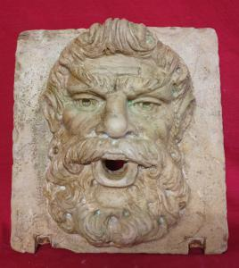 Mascherone/Bocca da Fontana - Volto di Filosofo - 30 x 32 cm - Marmo Trani - Fine 18° secolo - Venezia