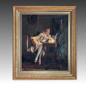 Подписанная картина Эмили Поп с изображением Пьеро