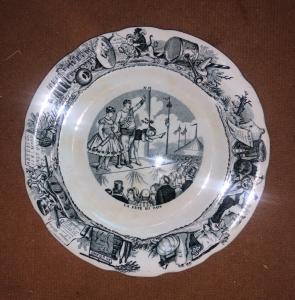 有马赛克主题的贴花主题的陶器板材Choisy le Roy.Francia