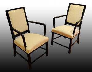 Pair of armchairs in ebonized wood