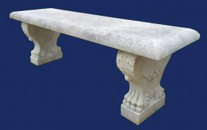 Panca in marmo bianco di Carrara scolpito - Milano metà XX sec.